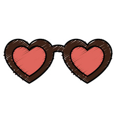 Sunglasses with heart isolated icon vector