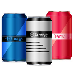 Three cans energy drinks vector