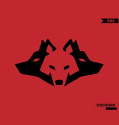 three wolfs logo vector image
