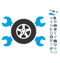 Tire Service Wrenches Icon With Air Drone Tools vector