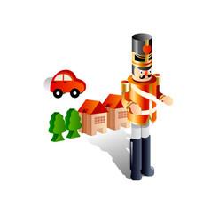 Toys a nutcracker car house vector
