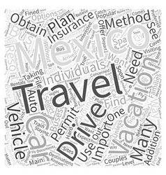 Travel Options While Vacationing in Mexico Word vector image