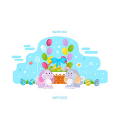 two lovely festive rabbits vector image