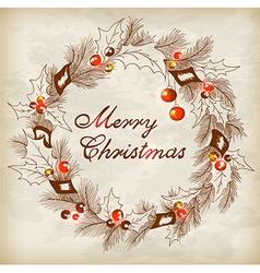 Vintage hand drawn Christmas wreath vector