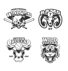 Vintage labels with wolf bulls ram and vector