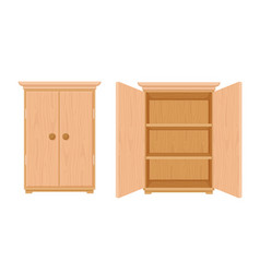 Wardrobe wooden template open and closed modern vector