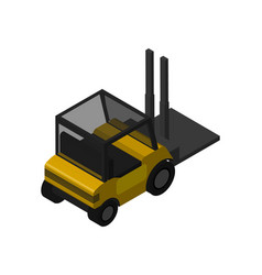 Warehouse forklift truck isometric icon vector