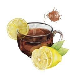Watercolor tea cup with lemon vector