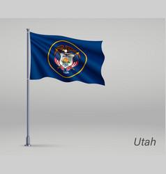Waving flag utah - state united states vector