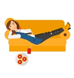 Woman lying on sofa with junk food vector