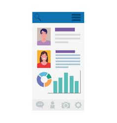 Woman man profiles and data on screenshot vector