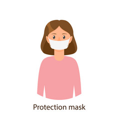 Young girl wearing protection mask scarf vector
