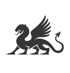 heraldic dragon silhouette logo vector image
