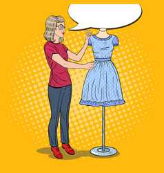 pop art female fashion designer with dress vector image vector image