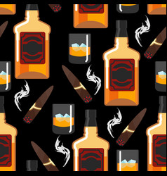 whiskey with ice seamless pattern gentleman vector image