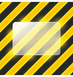 glass banner on black and yellow stripes vector image vector image