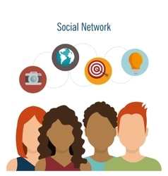 social network teamwork communication design vector image vector image