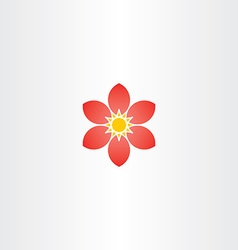 abstract red flower stylized geometric icon vector image