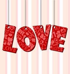 Abstract Valentine text frame with hanged letters vector image vector image