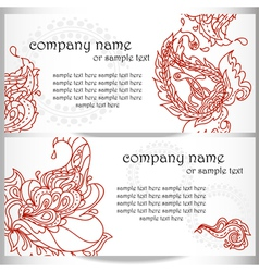 business card designs with paisley ornament vector image