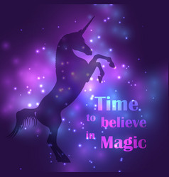 colorful unicorn silhouette with magic lights vector image vector image