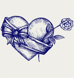 Heart with ribbon and flower vector image vector image