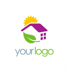 house solar panel energy logo vector image