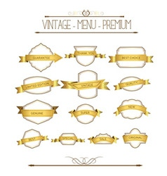 Set luxury labels and ribbons vector image