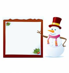 snowman with banner vector image vector image