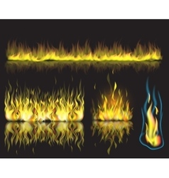 with set of burning fire vector image