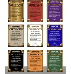 A set of templates of the diploma in six colors vector image