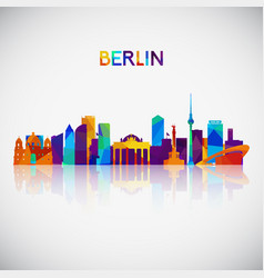 berlin skyline silhouette in colorful geometric vector image