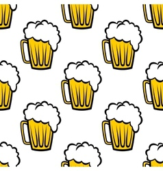 Seamless pattern with tankards of frothy beer vector image vector image