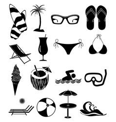 Summer beach fun icons set vector image