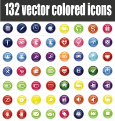 132 colored icons vector