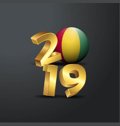 2019 golden typography with guinea flag happy new vector