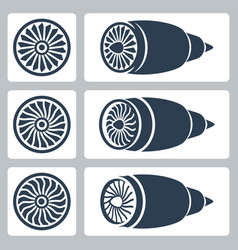 Aircraft turbines icon set vector