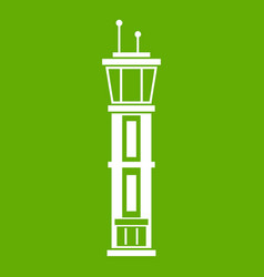 airport control tower icon green vector image