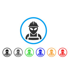 Alien worker rounded icon vector