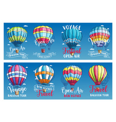 Banners for hot air balloon voyage festival vector