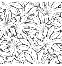Black and white palm leaves seamless pattern vector