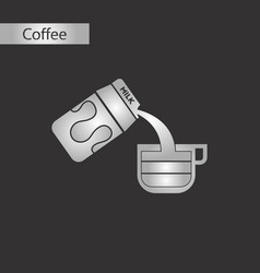 Black and white style icon coffee milk vector