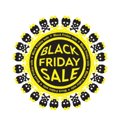 Black Friday Sale scull circle icon White vector image