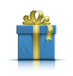 Blue gift box with yellow ribbon and bow vector image