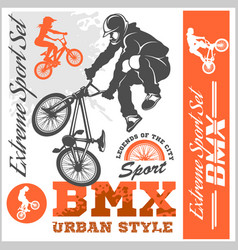 bmx t-shirt graphics extreme bike street style vector image