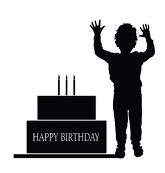 Boy silhouette with birthday cake vector