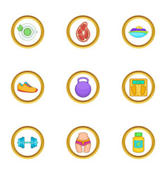 Breakfast icons set cartoon style vector