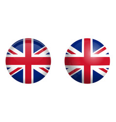 british union jack flag under 3d dome button and vector image