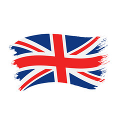 brushstroke painted flag united kingdom vector image