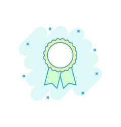 cartoon award ribbon icon in comic style medal vector image